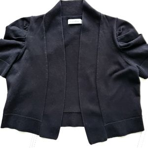 Calvin Klein crop black cardigan w/ puffy sleeves